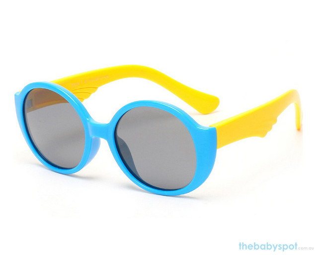 Kids Bendable Round Lense Sunglasses - Blue/Yellow