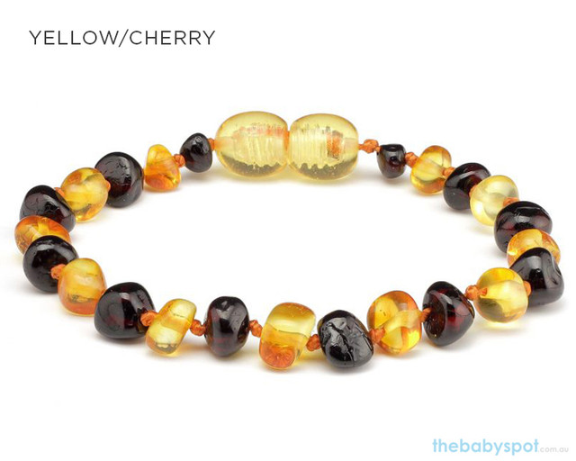 Amber Teething Bracelets - YELLOW/CHERRY