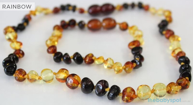Lemon Amber Necklaces for Mum and Baby - RAINBOW