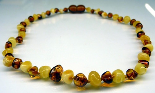 Amber Teething Necklace - White Cognac