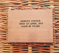 Dark Brown Nameplate attached to Brown Willow Coffin