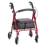 "Petite Lightweight 4 Wheel Mobility Walker/Rollator w/6"" Wheels, Seat, Locking Brakes and Pouch"