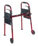 "Portable Folding Travel Walker with 5"" Wheels and Fold up Legs-809"