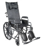 "Silver Sport Reclining Wheelchair with 16"" wide seat and Detachable Desk Length Arms and Elevating Leg rest-838"