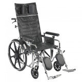 "Sentra Reclining Wheelchair with 20"" wide seat and Various Arm Styles and Elevating Leg rest-860"