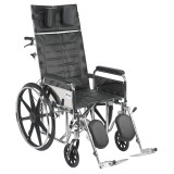 "Sentra Reclining Wheelchair with 20"" wide seat and Various Arm Styles and Elevating Leg rest-862"