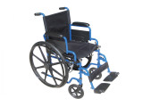 Blue Streak Wheelchair with Flip Back Detachable Desk Arms and Swing away Foot Rest-956