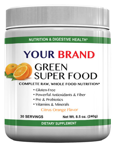Private Label Supplements Green Super Food - Citrus Orange Flavor