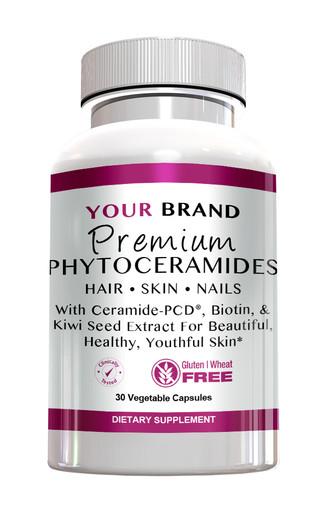 Private Label Supplements Premium Phytoceramides with Ceramide-PCD & Biotin