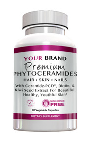 Private Label Supplements Premium Phytoceramides with Ceramide-PCD & Biotin