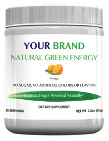 Private Label Supplement Natural Green Energy Drink Mix With 500 mg Green Coffee Bean Extract, Orange Flavor