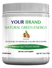 Private Label Supplement Natural Green Energy Drink Mix With 500 mg Green Coffee Bean Extract, Fruit Punch Flavor