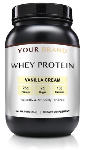 Private Label Supplements - Whey Protein Powder - Vanilla Cream, 28 Servings