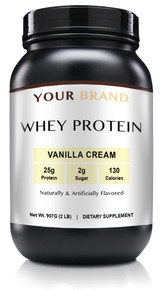 Private Label Supplements - Whey Protein Powder - Vanilla Cream, 28 Servings