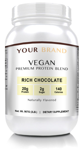 Private Label Supplements - Vegan Protein Powder - Rich Chocolate, 28 Servings