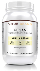 Private Label Supplements - Vegan Protein Powder - Vanilla Cream, 28 Servings