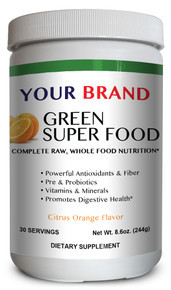 Private Label Supplements - Green Super Food Citrus Orange Flavor