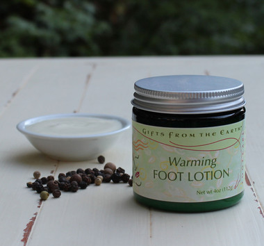 Warming Foot Lotion - Black pepper and ginger help heat cold feet.