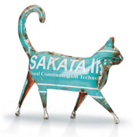 Walking Cat from Recycled Metal