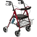 "Roscoe Deluxe Rollator w/ 8"" Wheels Red"