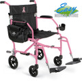 Pink Breast Cancer Awareness Transport Wheelchair