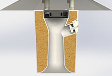 TS-100 Aspirated Shield cross-section showing coanda inlet and venturi contour.
