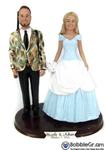 Custom Cinderella Bride and Hunting Groom Wedding Cake Topper