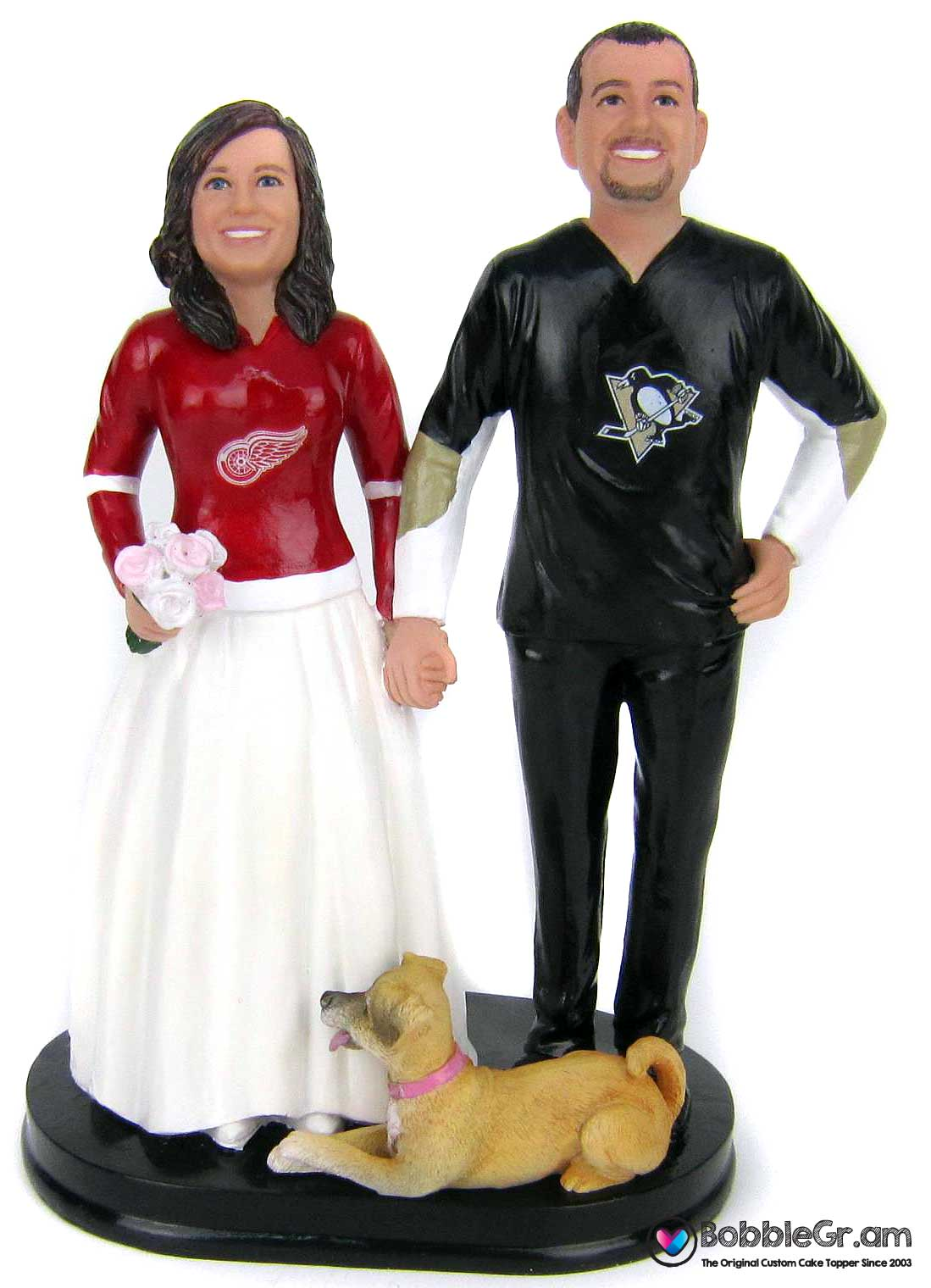 Custom hockey wedding cake toppers