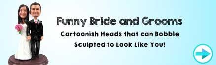 Funny Bride and Groom Wedding Cake Topper Figurines