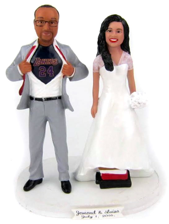 Lakers Fan Groom and Short Bride Wedding Cake Topper