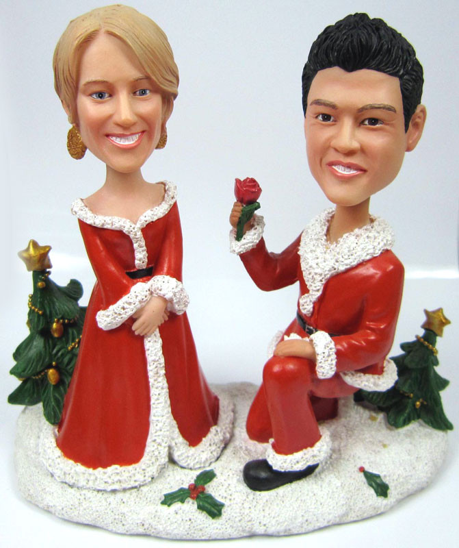 Marry Me For Christmas.Custom Will You Marry Me This Christmas Bobble Heads
