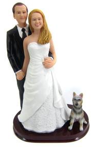 Groom standing behind bride custom wedding cake topper style