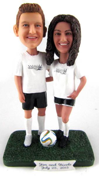 Soccer Couple Wedding Cake Topper