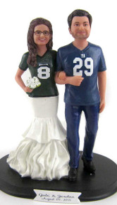 Custom Jersey Couple Wedding Cake Topper