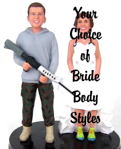 Custom Shooting Military Groom With Interchangeable Bride Wedding Cake Topper