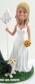 Bride Holding Flag cake topper figurine