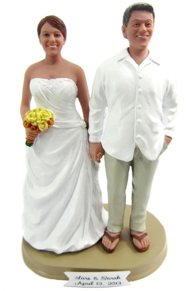 Custom Plus Sized Beach Bride And Groom Cake Toppers