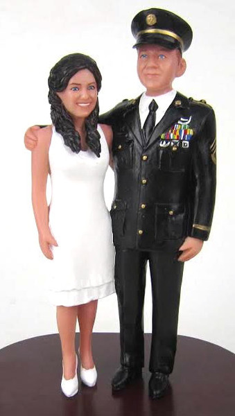 Custom Army Officer Groom with Tea Length Skirt Bride Cake Topper