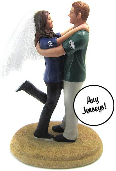 Football Themed Wedding Cake Topper Custom + Personalized