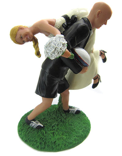 Custom Rugby Wedding Cake Topper