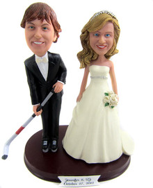 Hockey groom with any bride cake topper