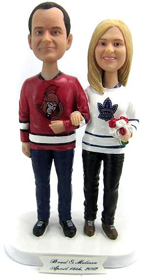 Casual Hockey Fans Wedding Cake Topper