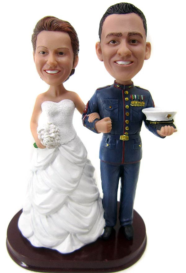 Custom Marine Corps Wedding Cake Toppers