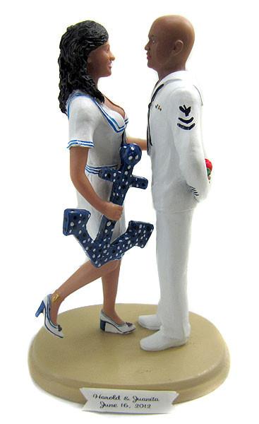 Navy Sailor Pin-up Wedding Cake Topper