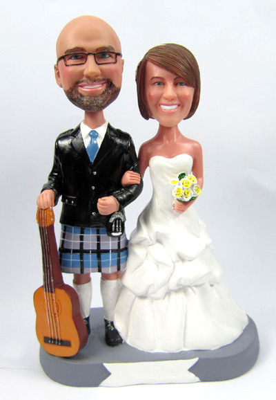 Groom in Kilt with Guitar Cake Topper