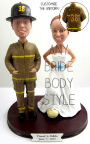 Firefighter Groom w/ Interchangeable Bride Style