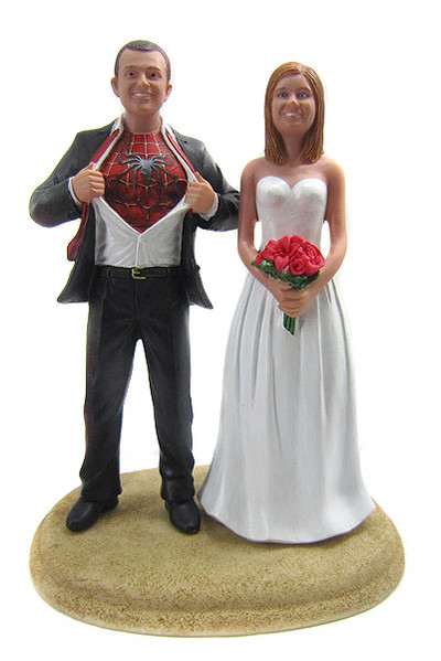 Custom Spiderman Groom Classic Wedding Cake Topper with ...