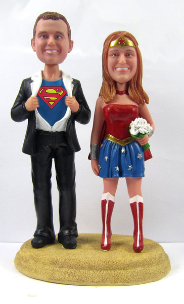 superman and wonder woman wedding cake toppers custom clark kent groom and cake 20615