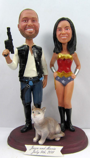 Wonder Woman Bride w/Interchangeable Groom Cake Topper