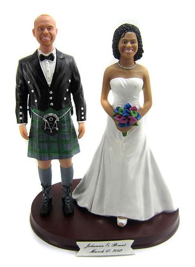 Custom Kilt Groom Wedding Cake Topper
